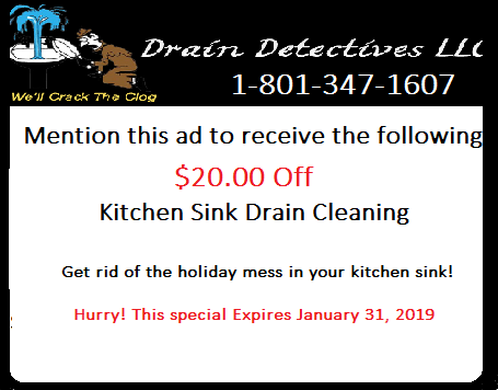 Drain Dectectives Drain Cleaning Coupon Savings Salt Lake City Utah